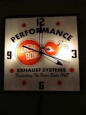 Vintage lighted advertising clock Cherry Bomb Performance Exhaust System