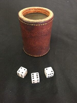 VTG ANTIQUE LEATHER STITCHED DICE GAME CUP Embossed Leather