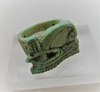 Beautiful Undated Egyptian Glazed Ring With Eye Of Horus