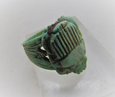 Beautiful Undated Egyptian Glazed Ring With Scarab