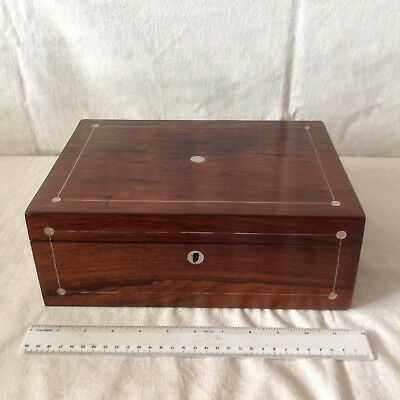 Large Antique Sewing/ Jewellery Box With Mother Of Pearl And Pewter Stringing