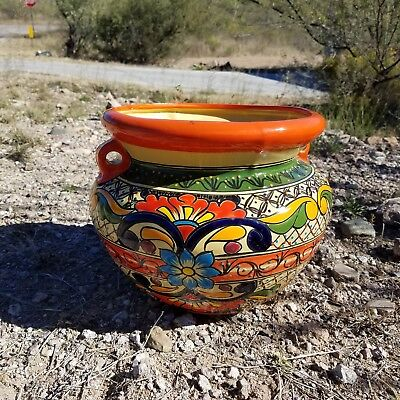 "Mexican Talavera Flower Pot Clay Garden Planter 11.5"" Colorful Ceramic Pottery"