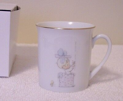 Precious Moments  BABY CUP   PORCELAIN TRIMMED IN GOLD