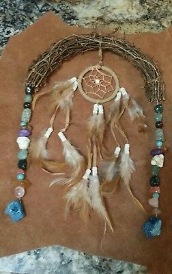 Native American Indian Harmony Bow Flax Bow With Healing Stones & Dream Catcher