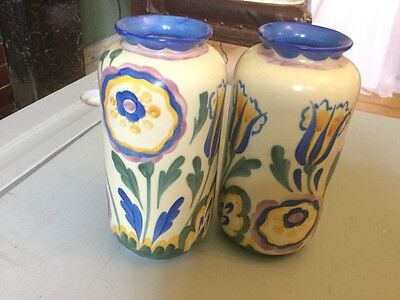 Crown Ducal Ware Hand Painted Art Deco Pair Of Vases Agardson