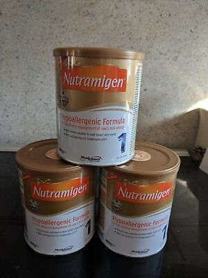 X3 tins Nutramigen 1 with LGG. New and sealed. 0-6 months. Hypoallergenic milk.