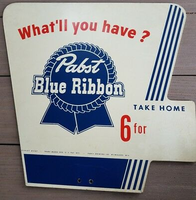 VINTAGE PABST BLUE RIBBON BEER  PRINTED MASONITE BOARD SIGN What'll you have?