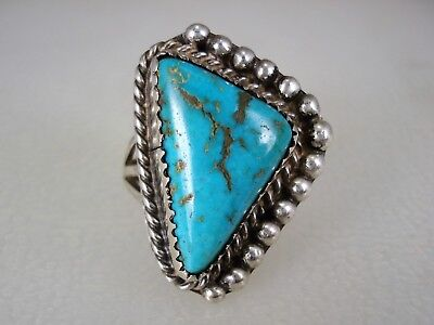 VINTAGE NAVAJO STERLING SILVER & TRIANGULAR NATURAL TURQUOISE RING sz 6.5