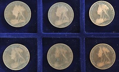 Queen Victoria Large Pennies Sequential Set 1896 - 1901 Penny Uk British Coin 1d