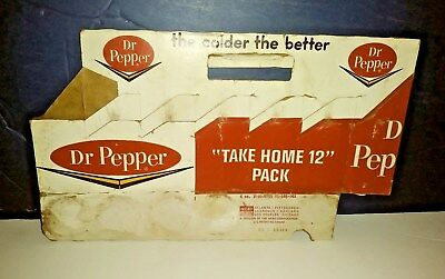 Very Rare 12 Pack Dr Pepper Cardboard Carrier From The 1950`s