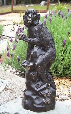 Large Heavy Antique Brass Monkey Jewelry or Pocket Watch Stand Store Display etc