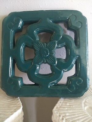 Chinese Breezeway Tile Architectural Turquoise Teal Garden Clay Pottery Tiki Bar