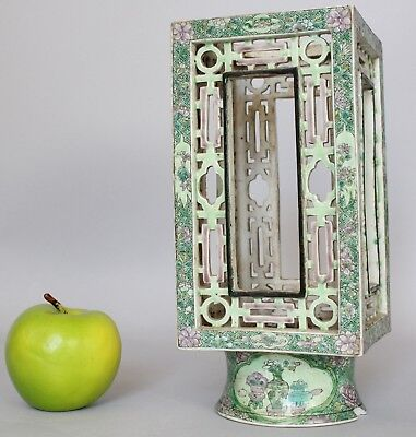 A Chinese famille verte square reticulated cong vase lantern Qing dynasty