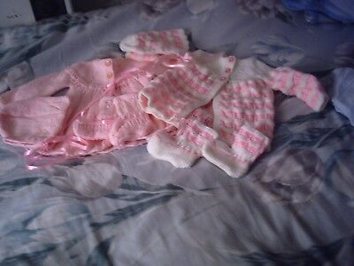 new hand knitted baby pink sets, matinee jackets, bootees, bonnets& mittens
