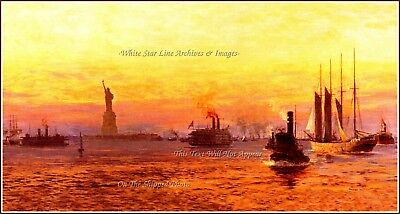 GRAND PRINT Norman Wilkinson: Approach To The New World, RMS Olympic, 1912