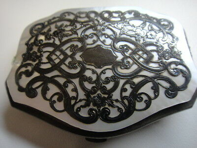 Elaborate Victorian silver-overlay mother-of-pearl purse with provenance, as-is
