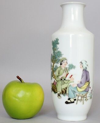 A thinly potted Chinese Cultural revolution figural decorated rouleau vase