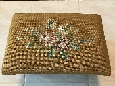Antique/Vintage Foot Stool Needlepoint Flowers  Daisies and Roses
