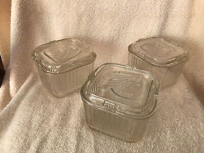 Vintage 3 Clear Glass Vegetable Square Refrigerator Dish / Box with Lid