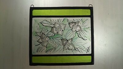 Stained Glass Leaded Sun Catcher Panel with green glass, enamels and stain