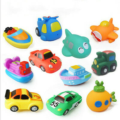 New Soft Rubber Float Sqeeze Sound Baby Bath Play Car Plane Boat Vehicle Toy FH