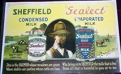 Reprint Of Early Sign For Sheffield Sealect Evaporated Milk Cattle Farmer