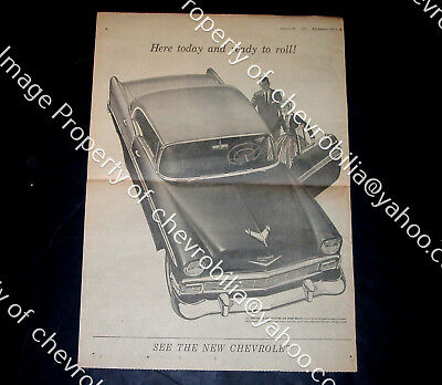 """1956 Chevrolet Bel Air Introduction FULL PAGE 15x22"""" Original NEWSPAPER AD 56"""