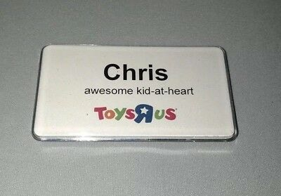 """Customizable Toys """"R"""" Us Employee Nametag Name Badge Magnetic Clasp."""