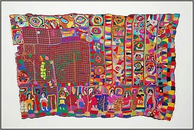 Large Naive Outsider Art Embroidery Mid Century Tapestry Hanging Folk Art