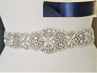 Clear Rhinestone Pearl Wedding Bridal Dress SASH BELT = 17 inch long = NAVY