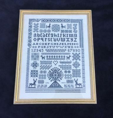 Vintage Hand Stitched Framed & Glazed Sampler Albhabet Etc