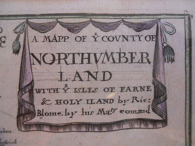 A Framed Map of Northumberland by Richard Blome  1673  ~