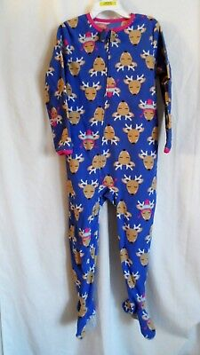 Girls 5T Purple Reindeer Super Cozy Fleece Zipper Sleeper Euc ~ Child Of Mine