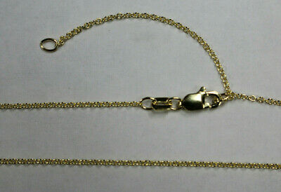"14kt 14K Yellow Solid Gold 1.1mm Adjustable Cable Chain 16"" 18"" w/Lobster Catch"