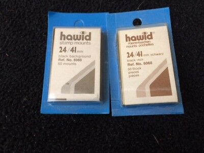 Hawid Stamp Mounts - 2 packs of 50 -  24 mm x 41 mm Ref 6060