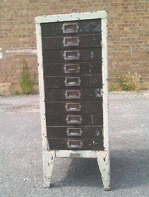 Small Vintage 10 Drawer Metal Filing Cabinet