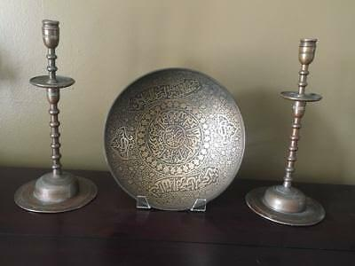 A Pair of Bronze Islamic / Middle Eastern Candlesticks and A Large Bronze Bowl