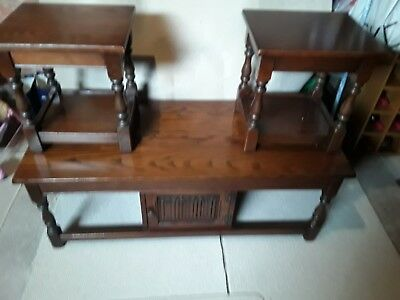 old charm dark oak coffee table with side tables