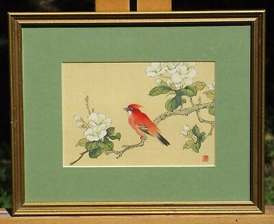 Framed Painting on Silk, Redbird with Red Seal