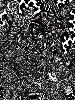 Abstract Psychedelic Surreal Dark ORIGINAL ART Outsider Ink Drawing BRAIN STORM