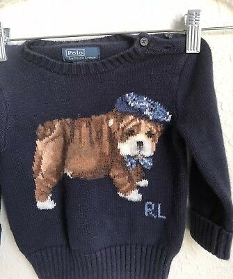 Polo RALPH LAUREN Baby Boys Navy Blue Cable Knit Sweater Size 12M 12 Months