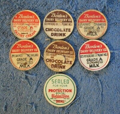 Vintage Lot Of Early Borden's Milk Caps. Oakland Frisco Ca All Diff. Variations.
