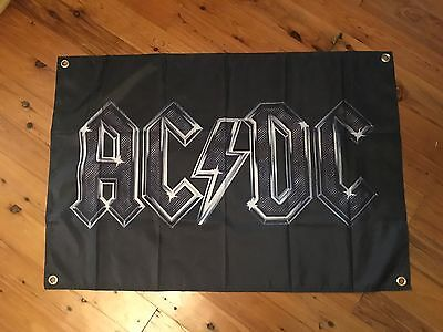 Man cave bar flag banner sign bar ware pool room biker acdc AC DC album cover