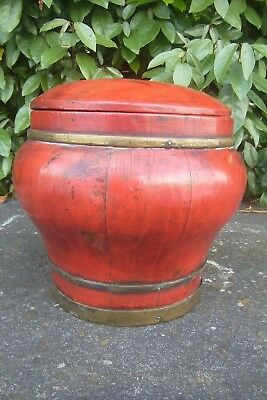 """Asian Lacquered Coopered Wooden """"Ginger Jar""""."""