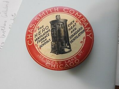 Antique advertising pocket mirror Chas. Smith Company Hero Furnace 3 1/2 inches