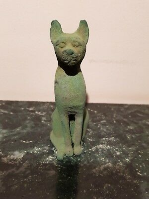 Rare Antique Ancient Egyptian Bronze Statue God Bastet protection joy2360-2270BC