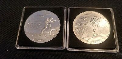 Lot of 2 Silver One Dollars US Coin 38th Anniversary Korea War Commemorative