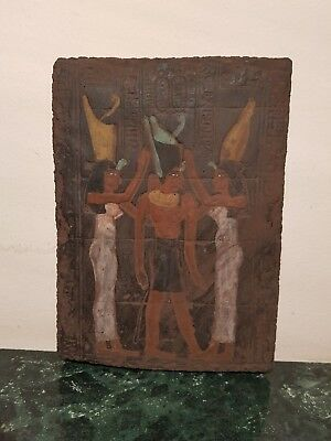 Rare Antique Ancient Egyptian Stela King Narmer Unifid Crown God Isis1740-1650BC