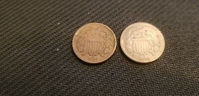 Lot of 2 US COINS  2 Cent Pieces 1870 & 1866