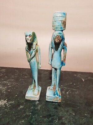 Rare Antique Ancient Egyptian 2 Statue God Sekhmet God War , Hunt 1870-1780BC